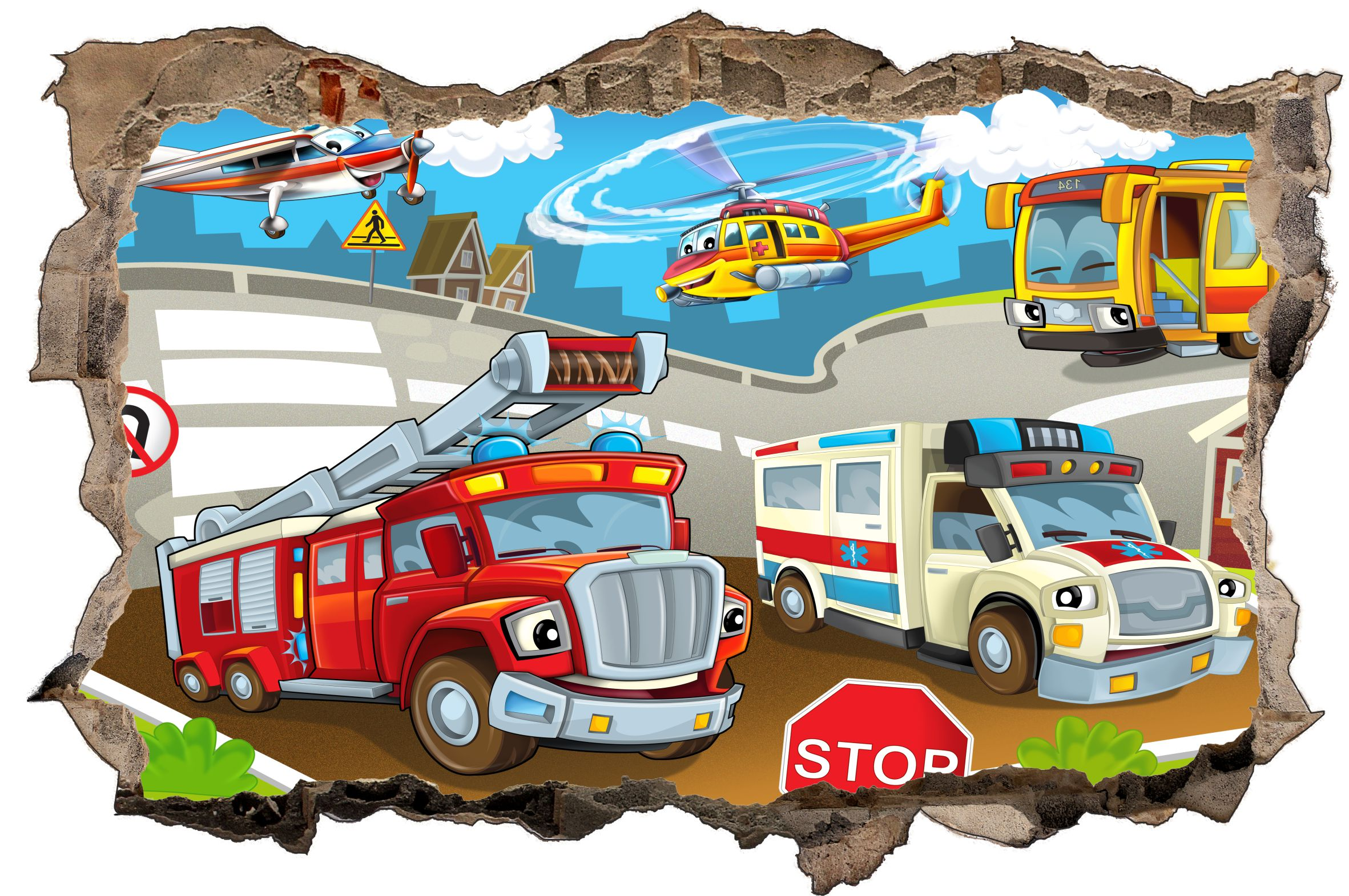 feuerwehr krankenwagen cartoon wandtattoo wandsticker. Black Bedroom Furniture Sets. Home Design Ideas