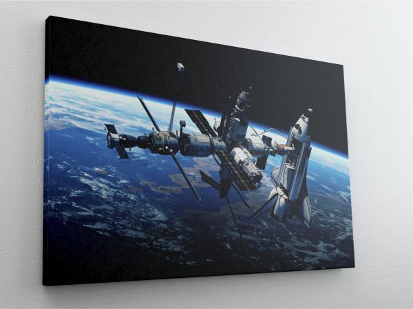 Satellit Raumstation Galaxy Weltall Leinwand Canvas-Bild L0236